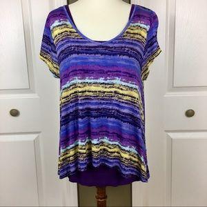 Decree Purple Multi Color Crop Top & Tank Size XL